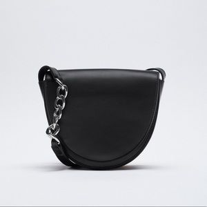 ZARA Oval Leather Crossbody Bag with Chain